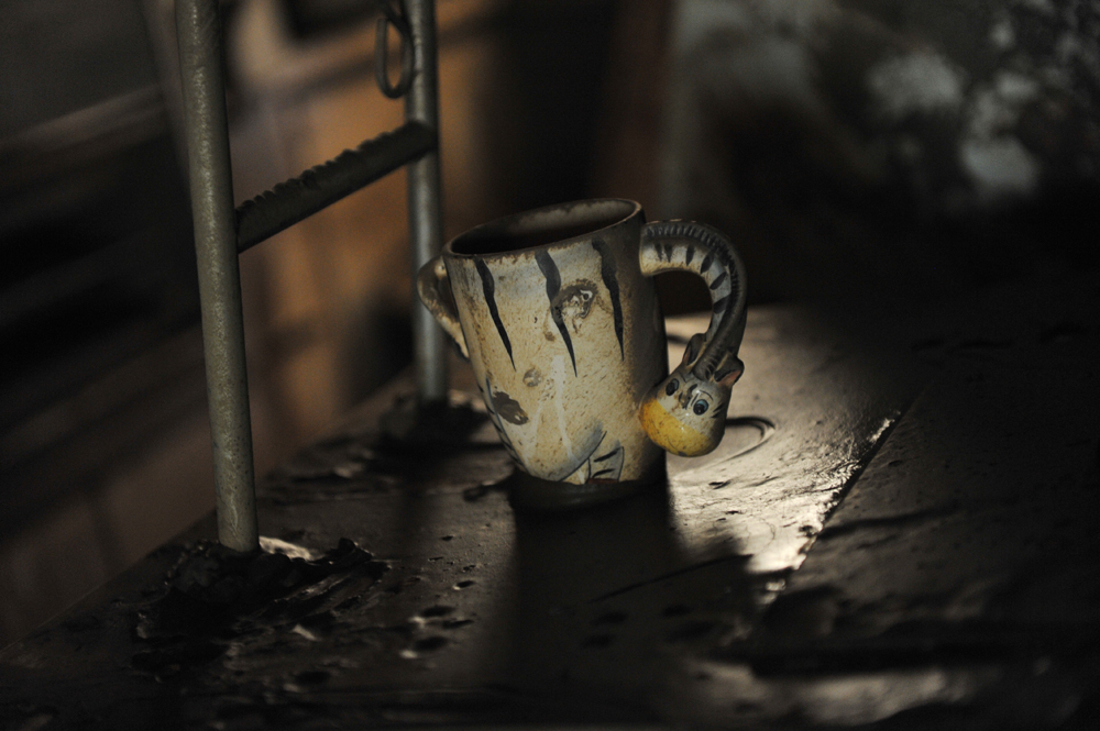 A coffee mug is left standing on a kitchen bench where the refridgerator and all other goods have been trashed in Goodna, Queensland.